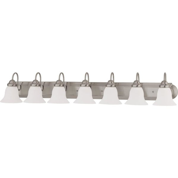 "Nuvo Lighting 60/3283 Ballerina 7 Light 48"" Wide Vanity Light with Frosted White Glass Shades - Brushed nickel"