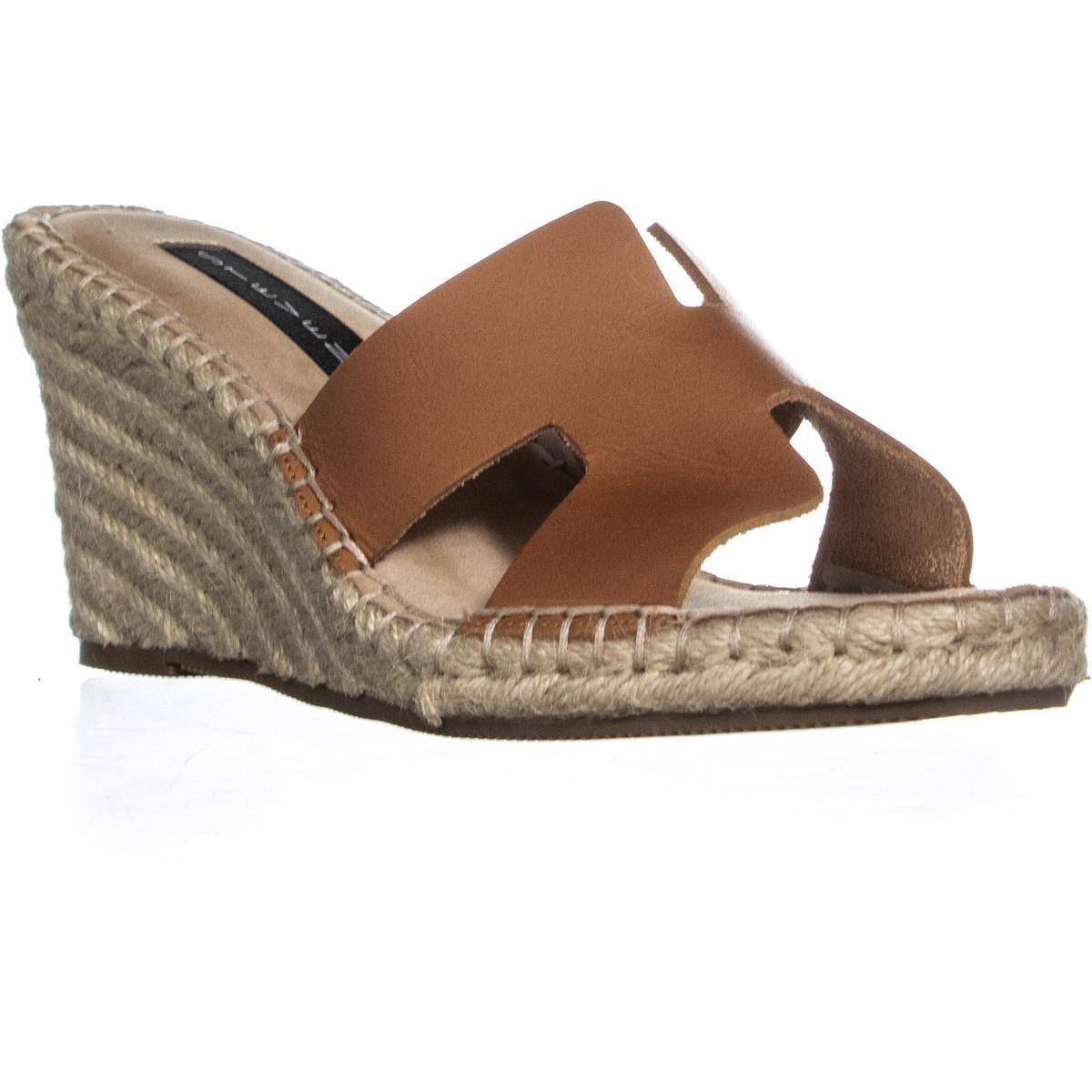 d3141aef59b STEVEN Steve Madden Eryk Wedge Sandals, Cognac Leather - 6.5 us