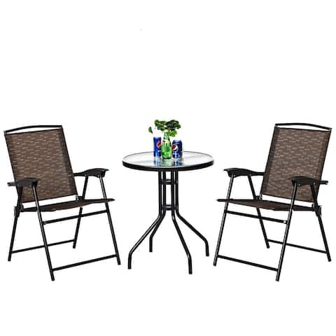 Costway 3PC Bistro Patio Garden Furniture Set 2 Folding Chairs Glass - Set of 3