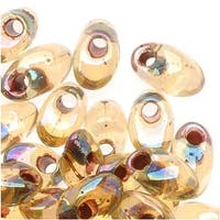 Miyuki Long Magatama Seed Beads - 4x7mm Garnet Lnd Transparent Lt Topaz AB 8.5g