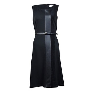 Calvin Klein Women's Faux Leather & Suede Panel Ponte Sheath Dress - 6