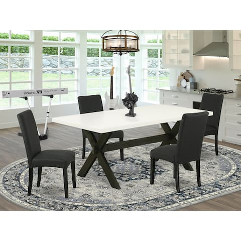 Modern Dining Set Include Upholstered Dining Chairs with Fabric Seat and Rectangular Table (Number of Chair and Bench Option)