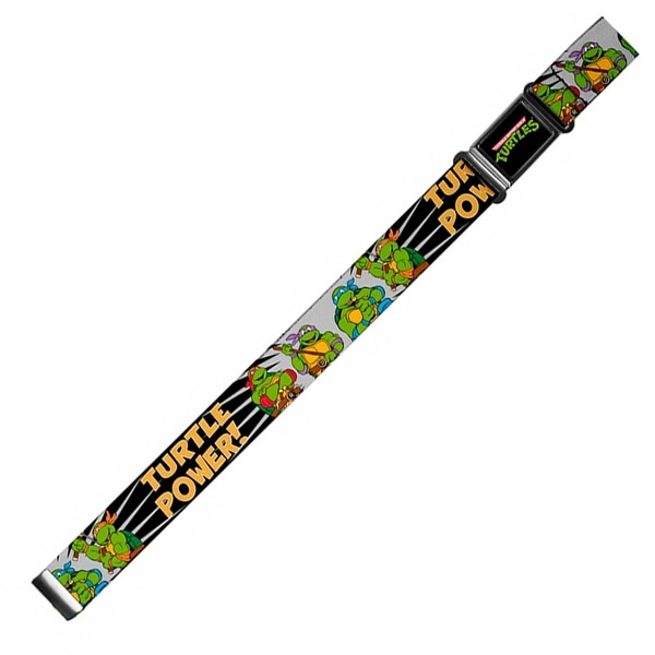 Classic Tmnt Logo Full Color Classic Tmnt Group Pose Turtle Power! Magnetic Web Belt - S