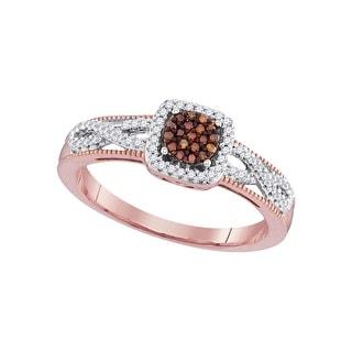 1/5Ctw Diamond Micro-Pave Bridal Engagement Ring 10K Rose-Gold