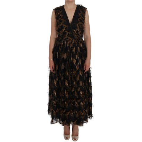 Dolce & Gabbana Black Silk Brown Fringes A-Line Dress