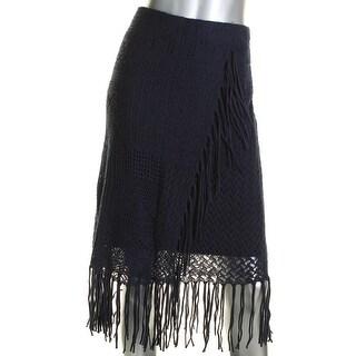 Lauren Ralph Lauren Womens Straight Skirt Linen Blend Fringe