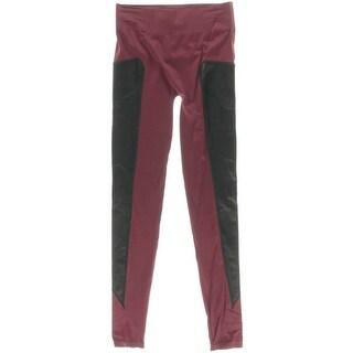 Material Girl Womens Juniors Faux Leather Trim Panel Leggings - XS/S