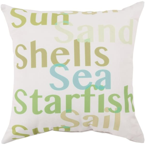 "20"" Tropical Sea Seagull Gray and Gum Leaf Green Throw Pillow Shell"
