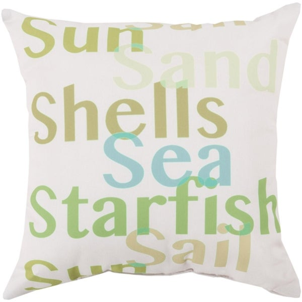 "26"" Tropical Sea Seagull Gray and Gum Leaf Green Throw Pillow Shell"