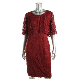 Badgley Mischka Womens Lace Knee Length Cocktail Dress