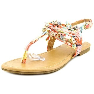 Famous Name Brand Sandy Open-Toe Canvas Slingback Sandal