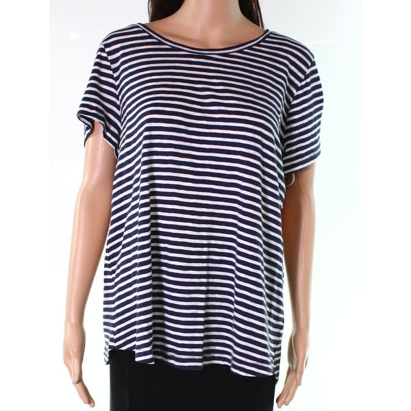 af60789d Shop Caslon Navy Blue White Womens Size Large L Striped Scoop Neck Knit Top  778 - On Sale - Free Shipping On Orders Over $45 - Overstock - 28042896