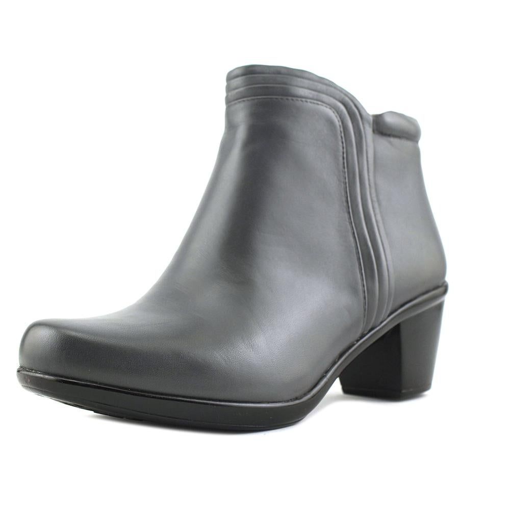 Round Toe Leather Gray Bootie