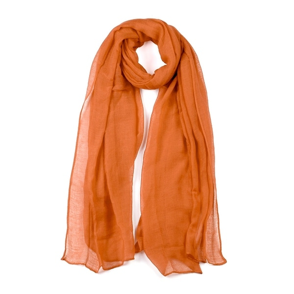 Long Warm Shawl Large Soft Solid Color Scarf for Women Men Orange-3