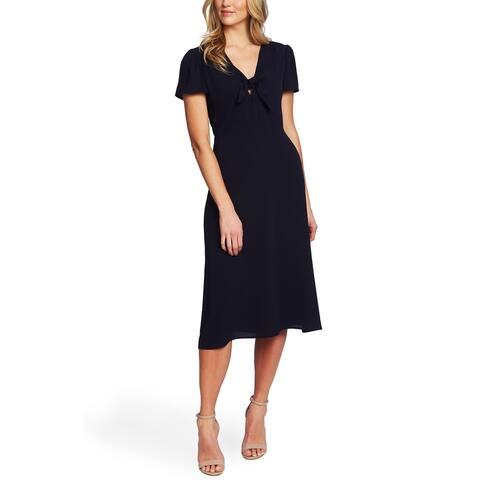 CECE Womens Navy Short Sleeve V Neck Midi Sheath Dress Size 10