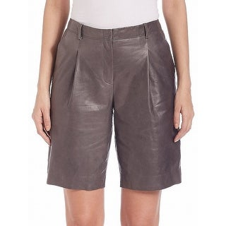Lafayette 148 Deep Gray Womens 12 Rivington Pleated Leather Shorts