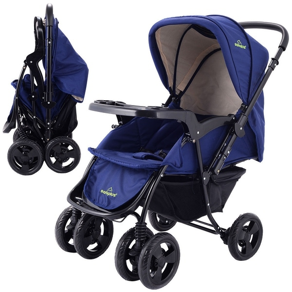 Two Way Foldable Baby Kids Travel Stroller Newborn Infant Pushchair Buggy Blue