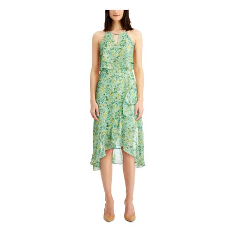KENSIE Green Sleeveless Below The Knee Dress 10