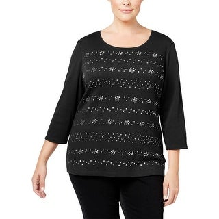 Karen Scott Womens Plus Casual Top Cotton Embellished