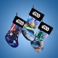 "Pack of 6 Star Wars Printed Applique Christmas Stockings 19"" - black"