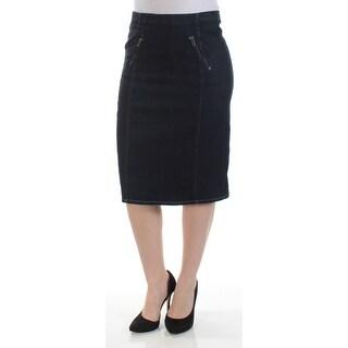 RALPH LAUREN $165 Womens New 1209 Blue Zippered Knee Length Pencil Skirt 4 B+B