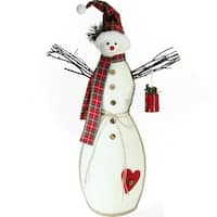 "25.5"" Holiday Moments Snowman with Red Plaid Hat and Scarf Christmas Decoration - WHITE"