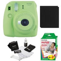 Fujifilm Instax Mini 9 (Lime Green) w/ Photo Album & Film Bundle