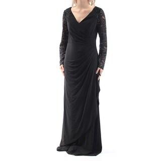 ALEX EVENINGS $219 Womens New 1378 Black Rhinestone Lace Long Sleeve Dress 6 B+B