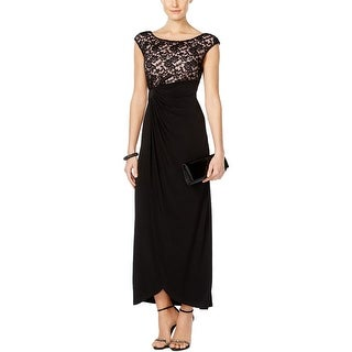 Connected Apparel Womens Petites Formal Dress Lace Trim Sequined