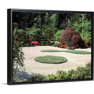 """Trees and plants in a garden, Japanese Garden, Washington Park, Portland, Oregon"" Black Float Frame Canvas Art"