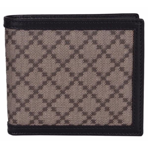 326a0a7d5f3 Gucci Men  x27 s 225826 Beige Black Canvas Leather Diamante Bifold Wallet -  4.25