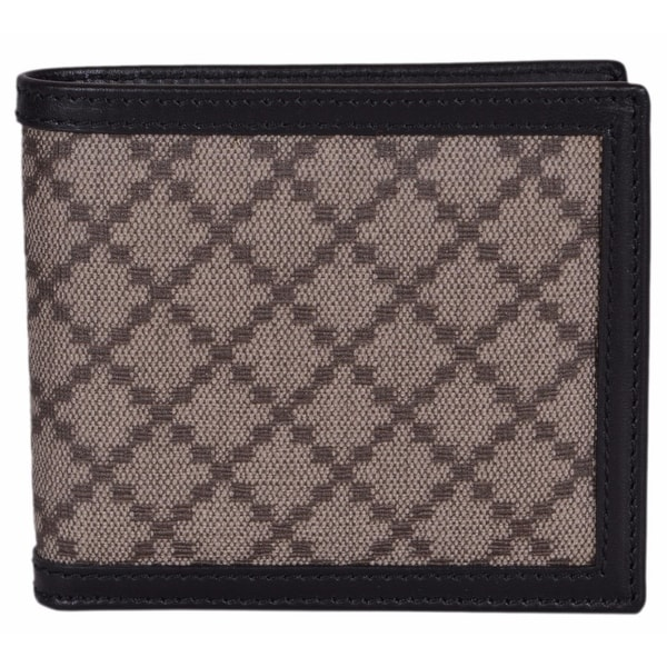 3a8e73fb8d50 Gucci Men's 225826 Beige Black Canvas Leather Diamante Bifold Wallet -  4.25