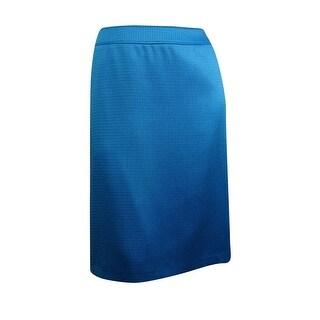 Tahari Women's Woven Sheen Pencil Skirt - blue tropic