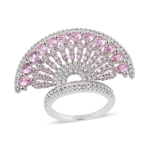 Pink Cubic Zircon White Cubic Zirconia Statement Ring Ct 2.5 - Ring 8