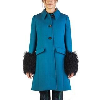 Miu Miu Women's Virgin Wool Sheep Fur Three-Button Trench Coat Blue - 46