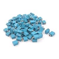 Unique Bargains 100 Pieces Blue 5 Pin PCB Mount Connector Port 3.5mm Stereo Jack Socket
