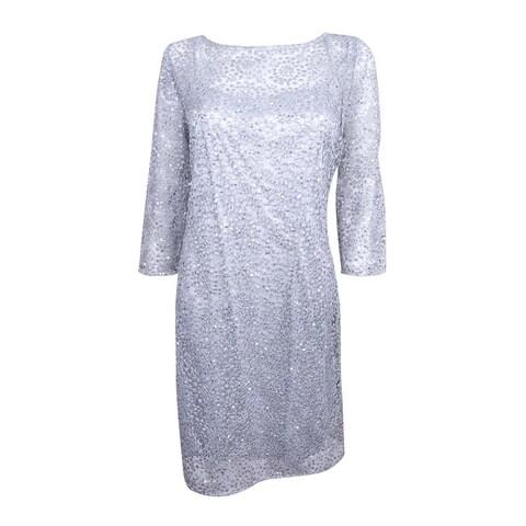 Alex Evenings Women's Embellished Crochet Dress - Silver