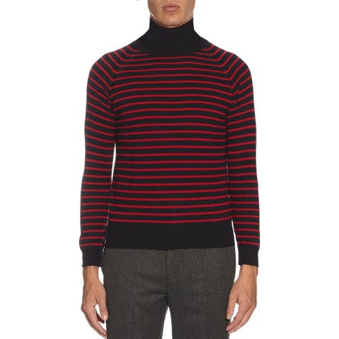 Marc Jacobs Mens Stevie Stripe Turtleneck Sweater Medium Navy /Red Made In Italy