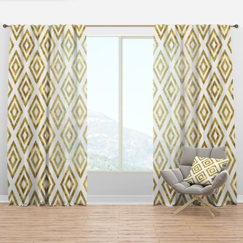 Designart 'White and Gold Pattern' Modern & Contemporary Curtain Panel