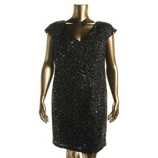 Adrianna Papell Womens Plus Double V Embellished Cocktail Dress - 14W
