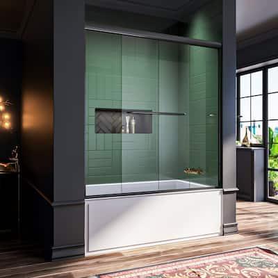 ELEGANT 60 x 62 Semi-Frameless Double Sliding Shower Tub Door