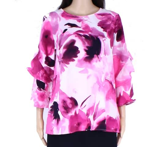 Alfani Womens Blouse Pink Size Small S Floral Print 3/4 Sleeve Ruffle