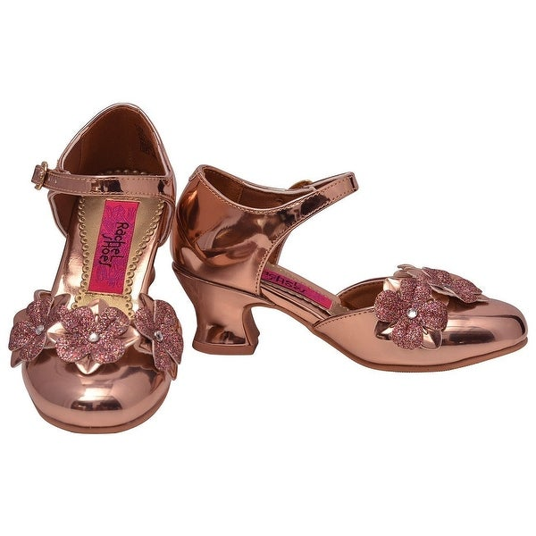 c9925c1751 Rachel Shoes Girls Rose Gold Patent Glitter Flowers Low Heeled Shoes