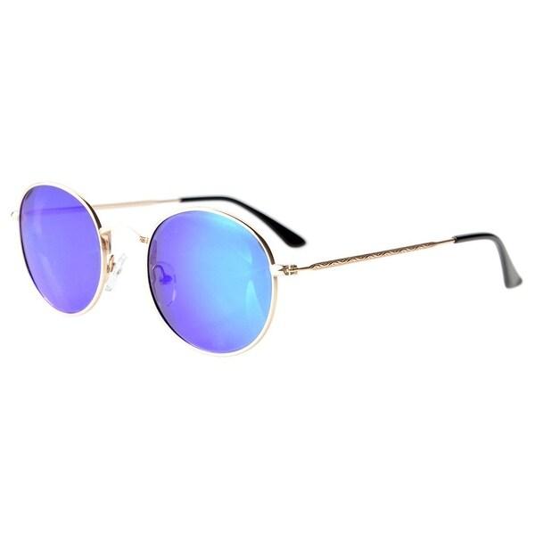 309faf5ce2b6 Eyekepper Vintage Style Quality Round Polarized Sunglasses Gold Frame-Blue Flash  Mirror