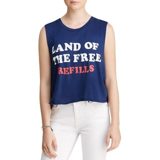 Wildfox Couture Womens Tank Top Graphic Cut-Off