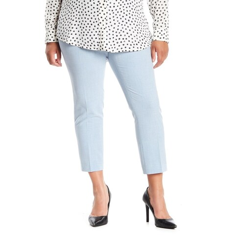 Amanda + Chelsea Blue Womens Size 18W Plus Cropped Stretch Pants