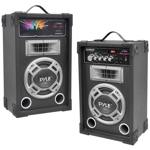 PYLE PRO PSUFM835A Dual 800-Watt Disco Jam Powered 2-Way PA Speaker System with Auxiliary Jack