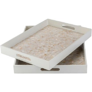 "Set of 2 Arabela Pristine White with Mother of Pearl Rectangular Serving Tray 18"" - 20"""