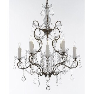Swarovski Crystal Trimmed Wrought Iron Crystal Chandelier