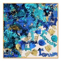 """Pack of  6 Metallic Blue and Gold """"1st Birthday"""" celebration Confetti Bags 0.5 oz."""
